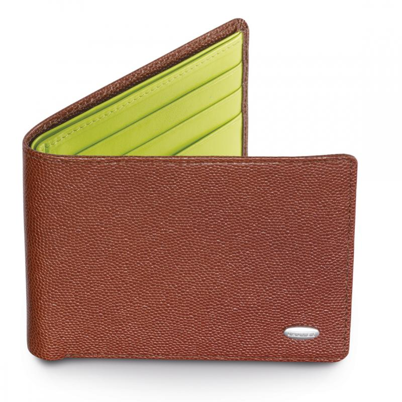 Dalvey Slim Leather Wallet - Brown Caviar & Green