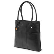 Fedon 1919 British BT-SHOPPER-VERT Black Leather Laptop Tote Bag
