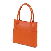 Fedon 1919 British BT-SHOPPER-VERT Orange Leather Laptop Tote Bag