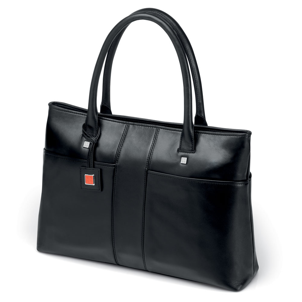 Fedon 1919 British BT-SHOPPER-OR Black Leather Laptop Tote Bag