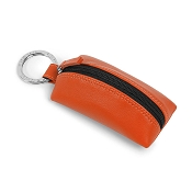 Fedon 1919 Classica ZIPPINO Orange Leather Key Ring Pouch