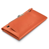 Fedon 1919 Classica P-FOGLIO-D-4 Large Orange Leather Clutch Wallet with Coin Pocket