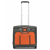 Fedon 1919 Travel WEB-TROLLEY-BZ Leather Pilot Bag - Orange/Grey