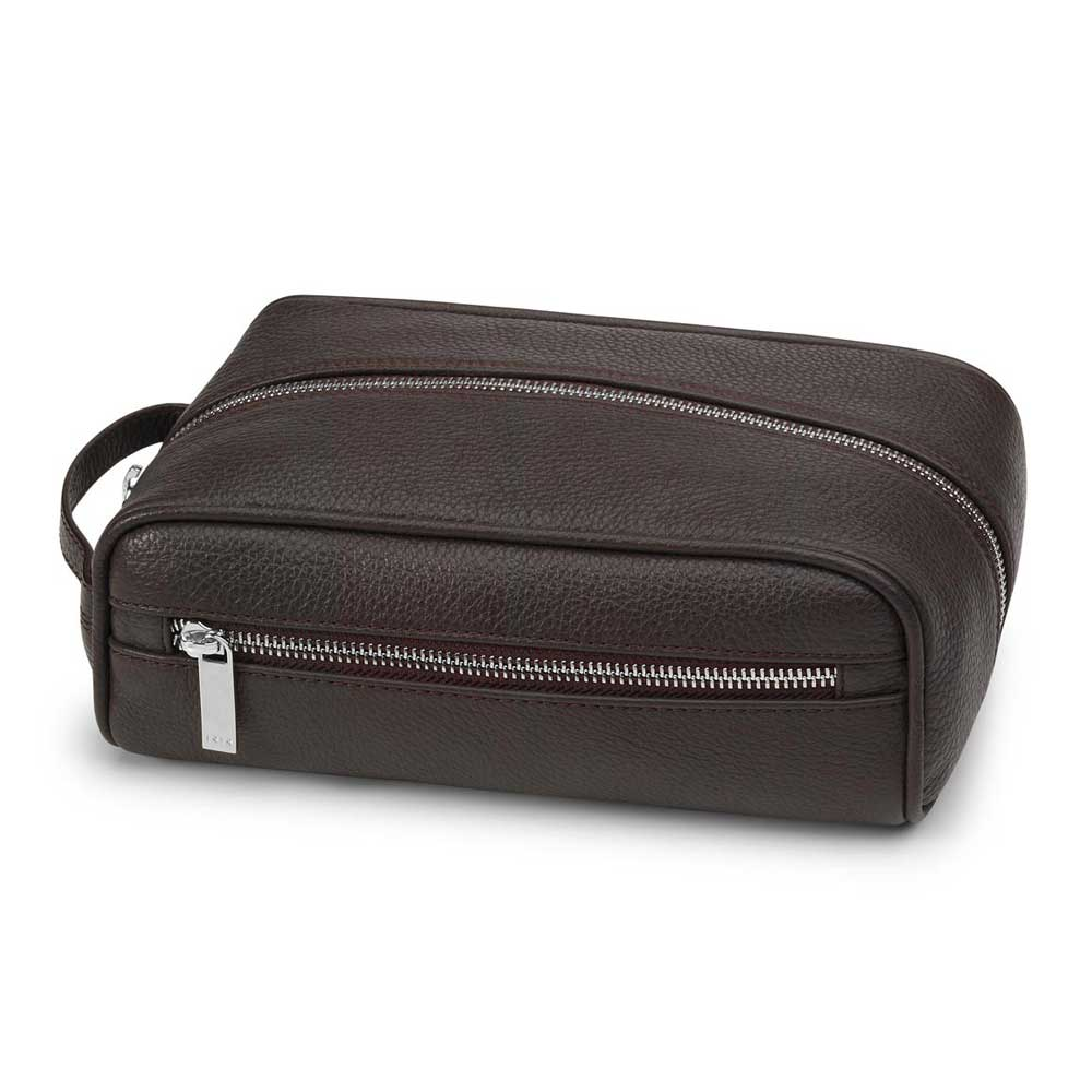 Fedon 1919 TRAVEL-BEAUTY Brown Leather Travel Toiletry Bag