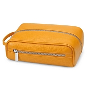 Fedon 1919 TRAVEL-BEAUTY Yellow Leather Travel Toiletry Bag