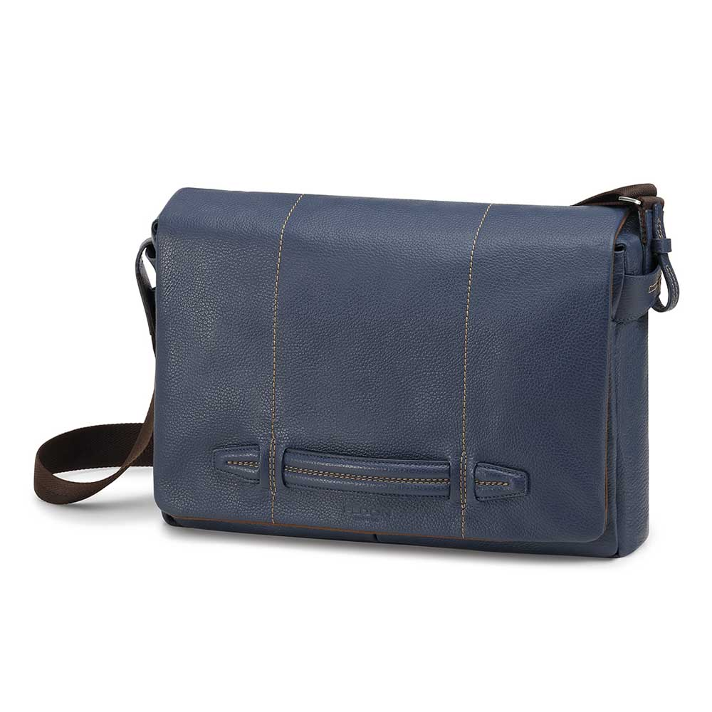 Fedon 1919 Venezia VE-MESSENGER-2 Marine Blue Soft Leather Shoulder Bag