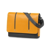 Fedon 1919 WEB-MESSENGER-2 Leather Laptop Shoulder Bag - Yellow/Grey