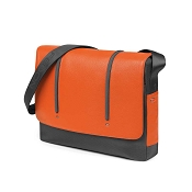 Fedon 1919 WEB-MESSENGER-2 Leather Laptop Shoulder Bag - Orange/Grey