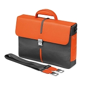 Fedon 1919 WEB-BRIEF-2 Leather/Nylon Flapover Tech Briefcase