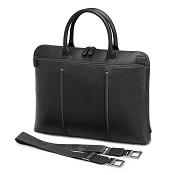 Fedon 1919 WEB-FILE-DOC Slim Leather Laptop/MacBook Bag - Grey/Black