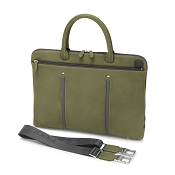 Fedon 1919 WEB-FILE-DOC Slim Leather Laptop/MacBook Bag - Grey/Green