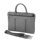 Fedon 1919 WEB-FILE-DOC Slim Leather Laptop/MacBook Bag - Grey/Grey