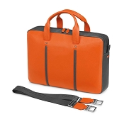 Fedon 1919 WEB-FILE-1 Leather Laptop/MacBook Bag - Orange/Grey