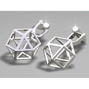 FdV Sterling Silver Cufflinks - Diamond Triangle Cage