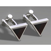 FdV Sterling Silver Cufflinks - Onyx Triangle