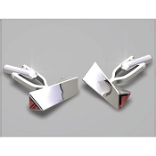 FdV Sterling Silver Cufflinks - Twisted Bar Triangle