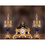 Imperial Falling in Love Mantel Clock & Candelabras - Lapis