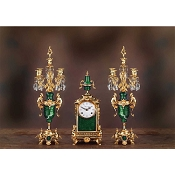 Imperial Louis XVI Mantel Clock & Candelabras - Malachite