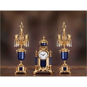 Imperial Empire Mantel Clock & Candelabras - Lapis