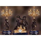Imperial Children with Crown Mantel Clock & Candelabras - Lapis