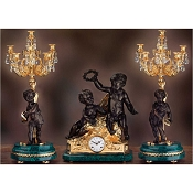 Imperial Children with Crown Mantel Clock & Candelabras - Malachite