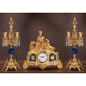 Imperial Lady on the Sofas Mantel Clock & Candelabras - Lapis