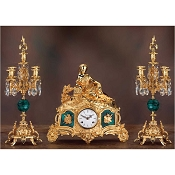 Imperial Lady on the Sofas Mantel Clock & Candelabras - Malachite