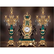 Imperial Fauns with Harp Mantel Clock & Candelabras - Malachite