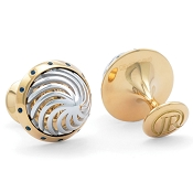 Jack Row Architect 18k White and Yellow Gold Cufflinks with Sapphires