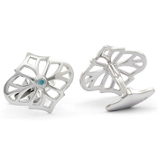 Jack Row Jaali Sterling Silver and Petrol Blue Diamond Cufflinks