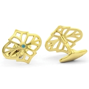 Jack Row Jaali Gold Vermeil and Petrol Blue Diamond Cufflinks