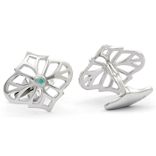 Jack Row Jaali 9ct White Gold and Paraiba Tourmaline Cufflinks