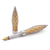 Jack Row Architect Fountain Pen: Sterling Silver - Black Diamonds