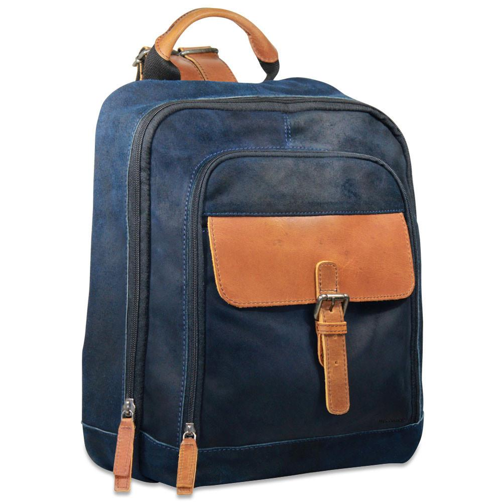 super specials affordable price more photos Jack Georges Dakota Blue Leather Laptop Backpack #RS516
