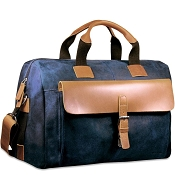 Jack Georges Dakota Blue Leather Over Nighter/Day Duffel Bag #RS718