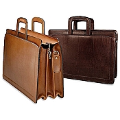 Jack Georges Belting Leather Triple Gusset Top Zip Briefcase #9002