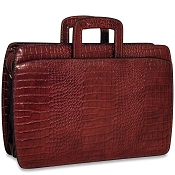 Jack Georges Croco Double Gusset Top Zip Leather Briefcase - Limited Edition
