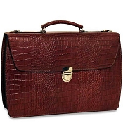 Jack Georges Croco Double Gusset Flapover Leather Briefcase - Limited Edition