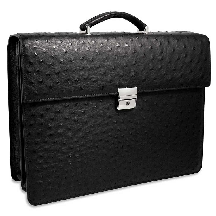 Jack Georges Genuine Ostrich Briefcase - Double Gusset Flapover