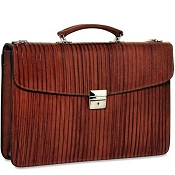 Jack Georges Monserrate Leather Slim Flap Over Briefcase