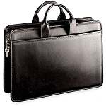 Jack Georges Platinum Single Gusset Top Zip Leather Briefcase