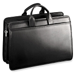 Jack Georges Platinum Double Gusset Top Zip Leather Briefcase