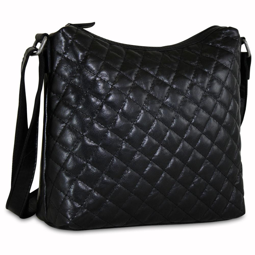 Jack Georges Quilted Leather Hobo Bag #Q613