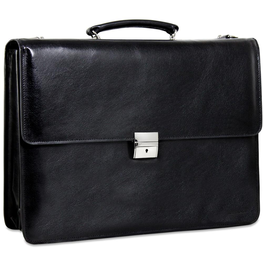 Jack Georges Sienna Executive Leather Triple Gusset Flap Over Briefcase