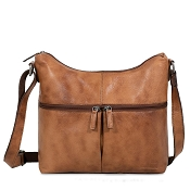 Jack Georges Voyager Buffed Uptown Slate Leather Hobo Bag #6814