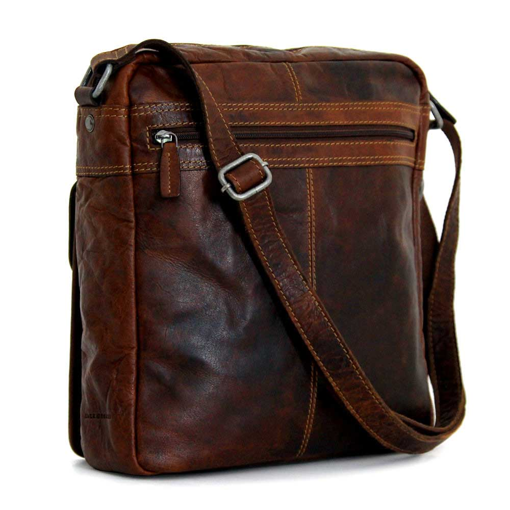 100% high quality good texture new concept Jack Georges Voyager Leather Large Cross Body Bag #7205