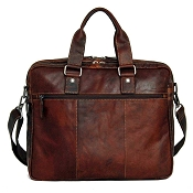 Jack Georges Voyager Leather Large Double Gusset Briefcase #7317