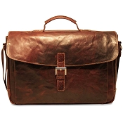 Jack Georges Voyager Leather Flapover Briefcase #7501