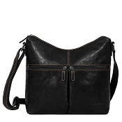 Jack Georges Voyager Uptown Black Leather Hobo Bag #7814