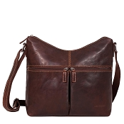 Jack Georges Voyager Uptown Brown Leather Hobo Bag #7814